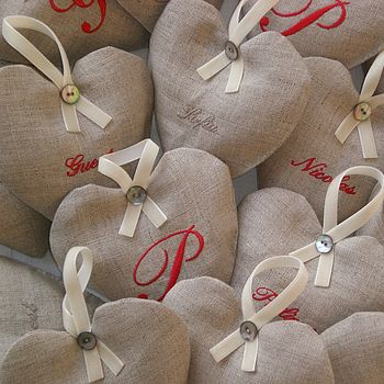 Personalised Linen Heart Lavender Bag