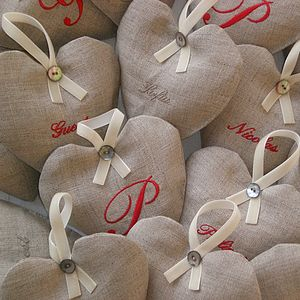 Personalised Linen Heart Lavender Bag - decorative accessories