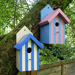 Handcrafted Beach Hut Bird House - bird houses