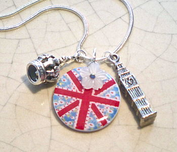 Union Jack Acrylic Charm Necklace