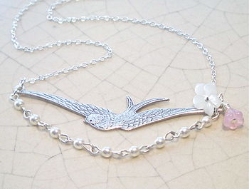 Swooping Silver Bird Necklace