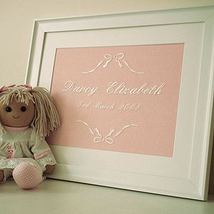 Personalised Bow Birth Embroidery