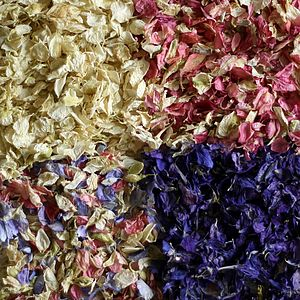 Biodegradable Delphinium Petals Confetti - dining room