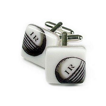 Cricket Ball Glass Cufflinks