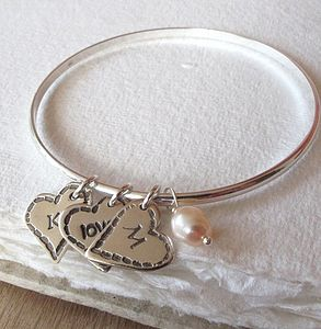 Personalised Shabby Heart Charm Bangle