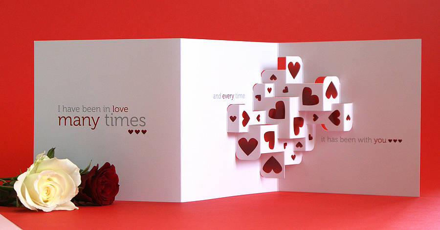 Much love 3d greetings card by open box design for 3d christmas cards to make at home