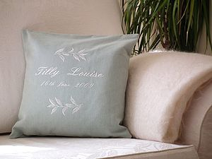Personalised Embroidered Leaf Cushion