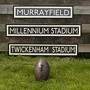 Rugby Stadium Bus Sign