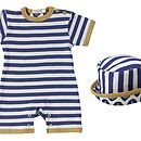 Striped Summer Baby Romper And Sun Hat