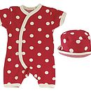 Thumb red spotty romper set