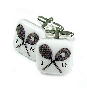 Tennis Racket Glass Cufflinks - men's jewellery