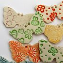 Five Porcelain Butterfly Buttons