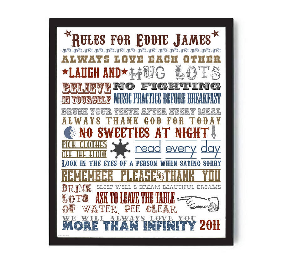 personalised family house rules print by more than words ... | title