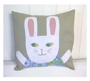 Little Bunny Appliqué Linen Cushion Cover - soft furnishings & accessories