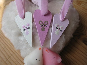 Set Of Three Hand-Painted Sugar Mice Hearts - wedding favours