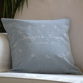 Personalised Embroidered Daisy Cushion