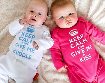 Keep Calm Romper shown in White and Hot Pink, modelled by Harry and Olivia!!