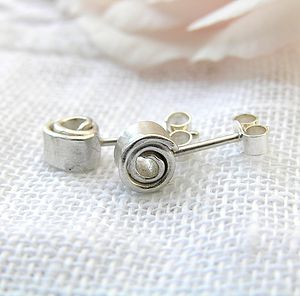 Wrapped Silver Studs - earrings