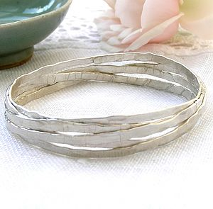 Wrapped Silver Bangle - bracelets & bangles