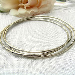 Dappled Silver Bangle - bracelets & bangles