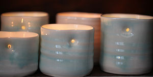Hand Thrown Porcelain Tea Light Holders - ornaments