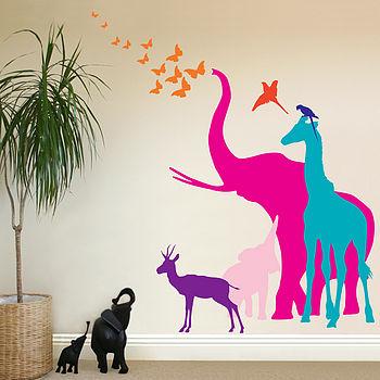 Seven Safari Animal Wall Stickers