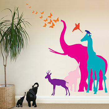 Seven Safari Animal Wall Stickers