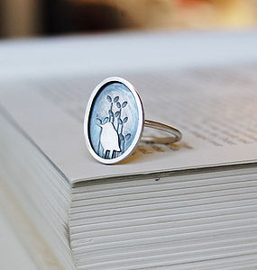Sterling Silver 'bird and new shoots' Ring