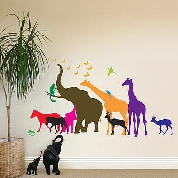 Thirteen Safari Animal Wall Stickers