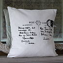 Handprinted black on cream Postcard Cushion