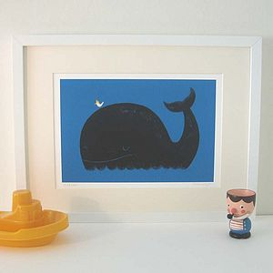 Walter The Whale Fine Art Print - children's room