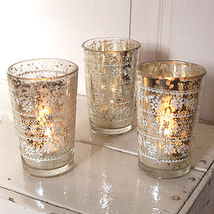 Etched Glass Tealight Holder - candles & candle holders