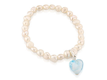 Pearl Bracelet with Aquamarine Heart