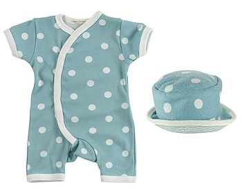 Organic Short New Baby Romper & Sun Hat