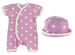Short Spot Baby Romper And Sun Hat - gift sets