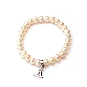Pearl Bracelet With Initial Option