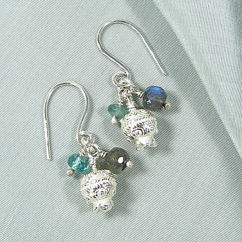Grecian Earrings with Labradorite and Appatite