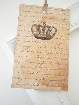 Set Of Three Vintage Style Crown Gift Tags