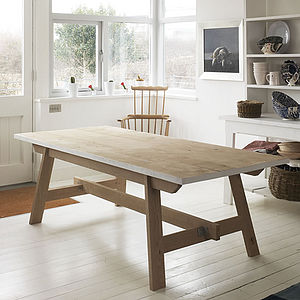 Welsh Oak Farmhouse Trestle Table - furniture