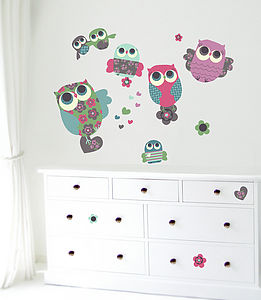 Owls Fabric Wall Stickers - painting & decorating
