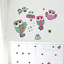 Owls Fabric Wall Stickers Room Large