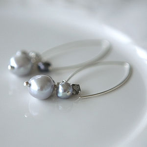 Silver Pearl Cluster Earrings