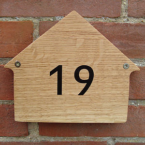 Small Oak House Number - home accessories