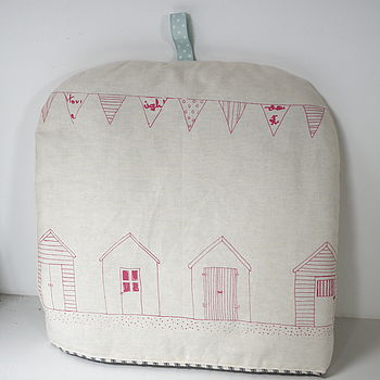 Handprinted pink Beach Hut Tea Cosy