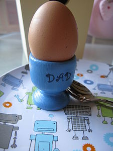 'Dad' Hand Painted Egg Cup - egg cups & cosies