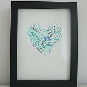 Handpainted Special Location Map Heart