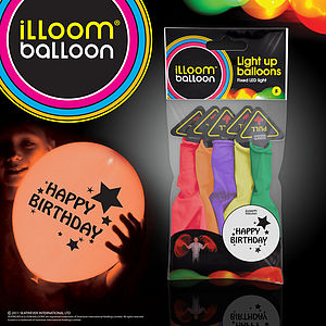 Happy Birthday Mixed Light Up Balloons - 5pk - lighting