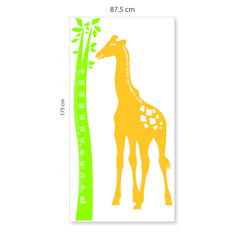 giraffe height chart wall stickerthe bright blue pig