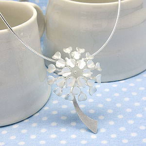 Silver Allium Flower Pendant
