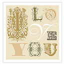Vintage Style I Love You Print in Golds